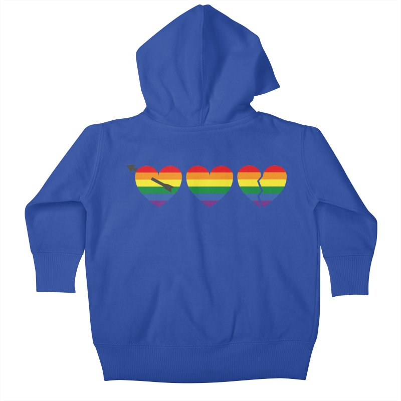 Hearts with gay flag (gay pride) Kids Baby Zip-Up Hoody by Beatrizxe