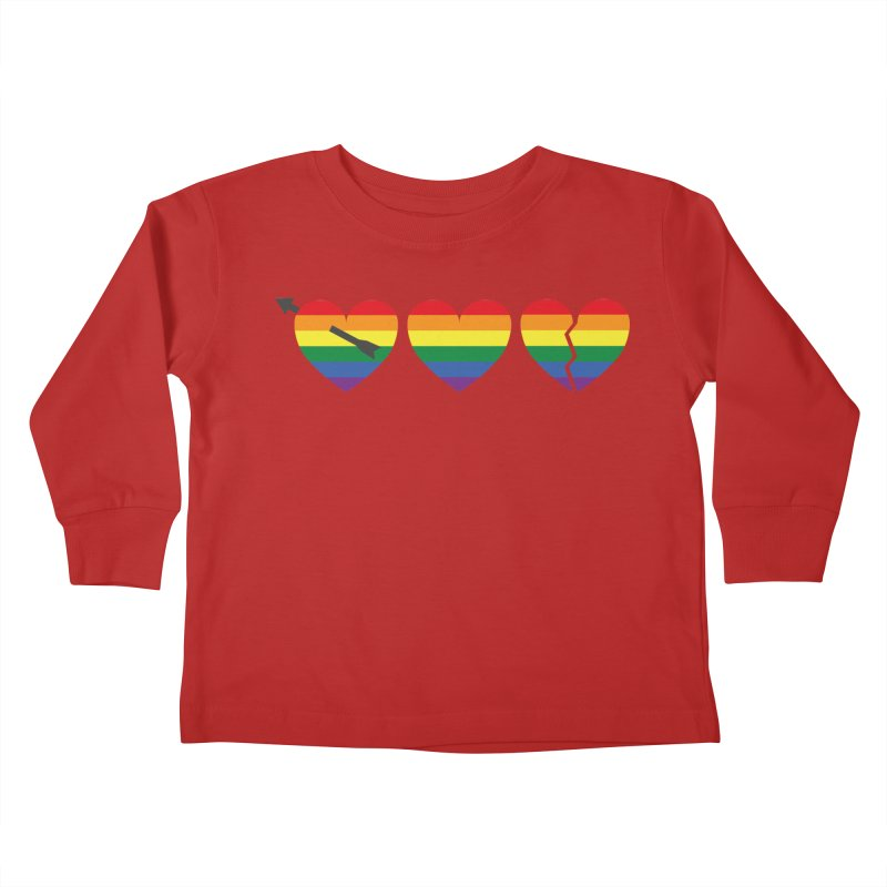 Hearts with gay flag (gay pride) Kids Toddler Longsleeve T-Shirt by Beatrizxe
