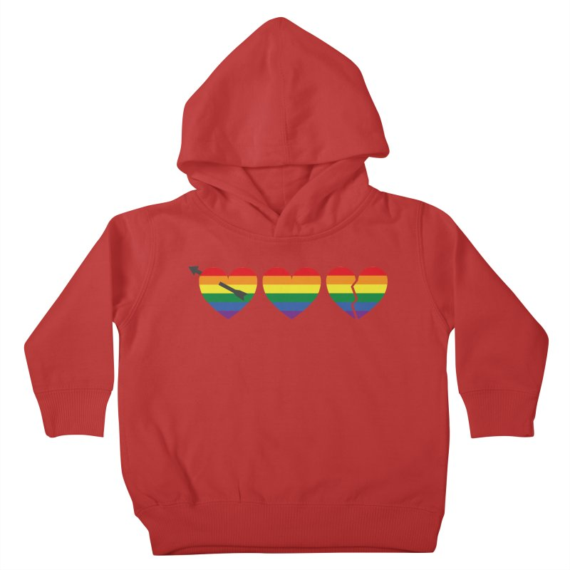 Hearts with gay flag (gay pride) Kids Toddler Pullover Hoody by Beatrizxe