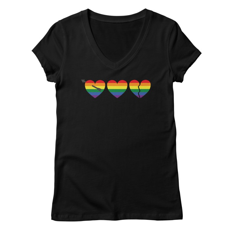 Hearts with gay flag (gay pride) Women's V-Neck by Beatrizxe