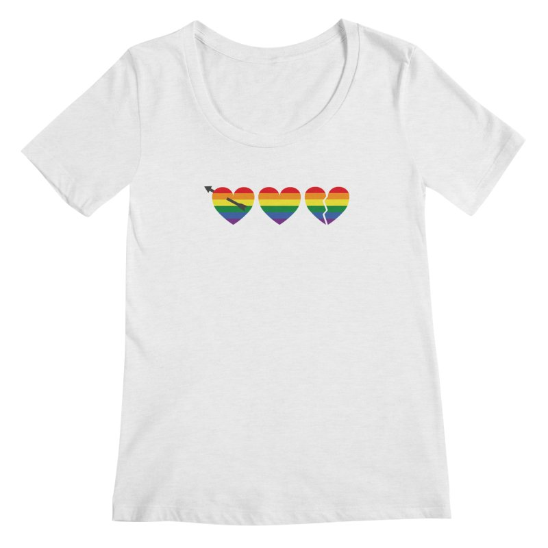 Hearts with gay flag (gay pride) Women's Scoop Neck by Beatrizxe