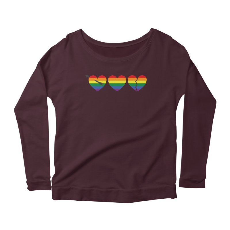 Hearts with gay flag (gay pride) Women's Longsleeve Scoopneck  by Beatrizxe
