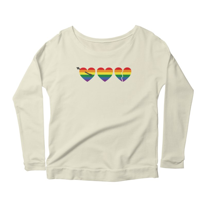 Hearts with gay flag (gay pride) Women's Scoop Neck Longsleeve T-Shirt by Beatrizxe