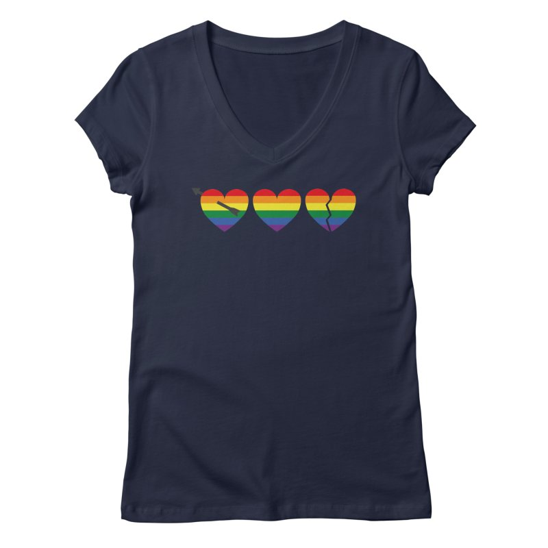 Hearts with gay flag (gay pride) Women's Regular V-Neck by Beatrizxe