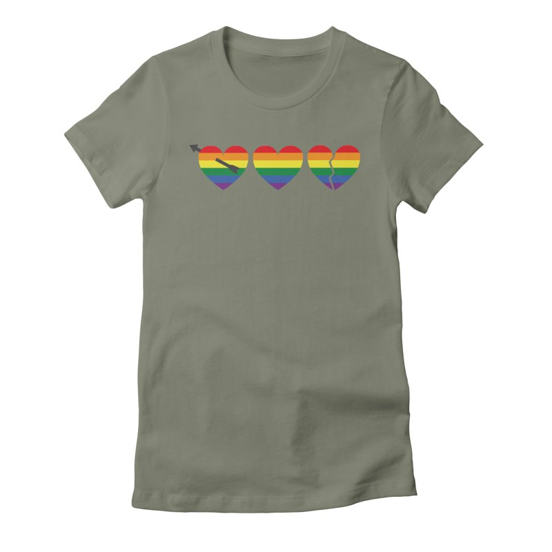 Hearts with gay flag (gay pride) Women's Fitted T-Shirt by Beatrizxe