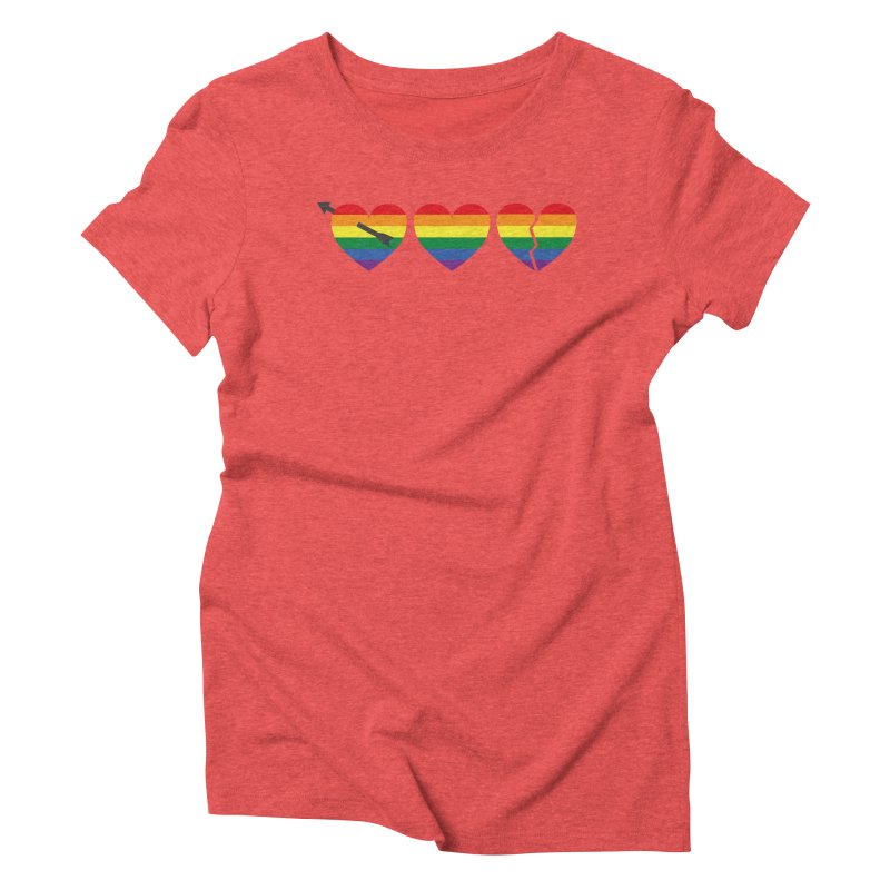 Hearts with gay flag (gay pride) Women's Triblend T-shirt by Beatrizxe