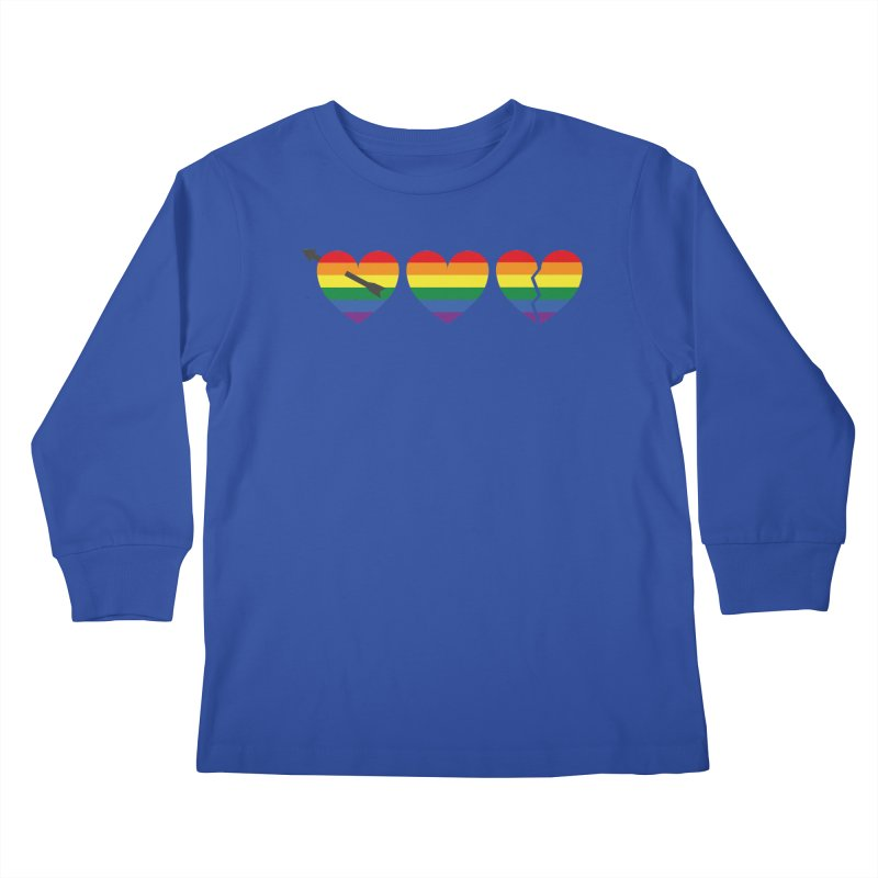 Hearts with gay flag (gay pride) Kids Longsleeve T-Shirt by Beatrizxe