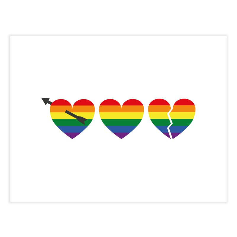 Hearts with gay flag (gay pride) Home Fine Art Print by Beatrizxe