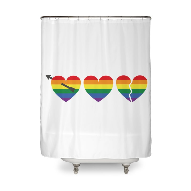 Hearts with gay flag (gay pride) Home Shower Curtain by Beatrizxe