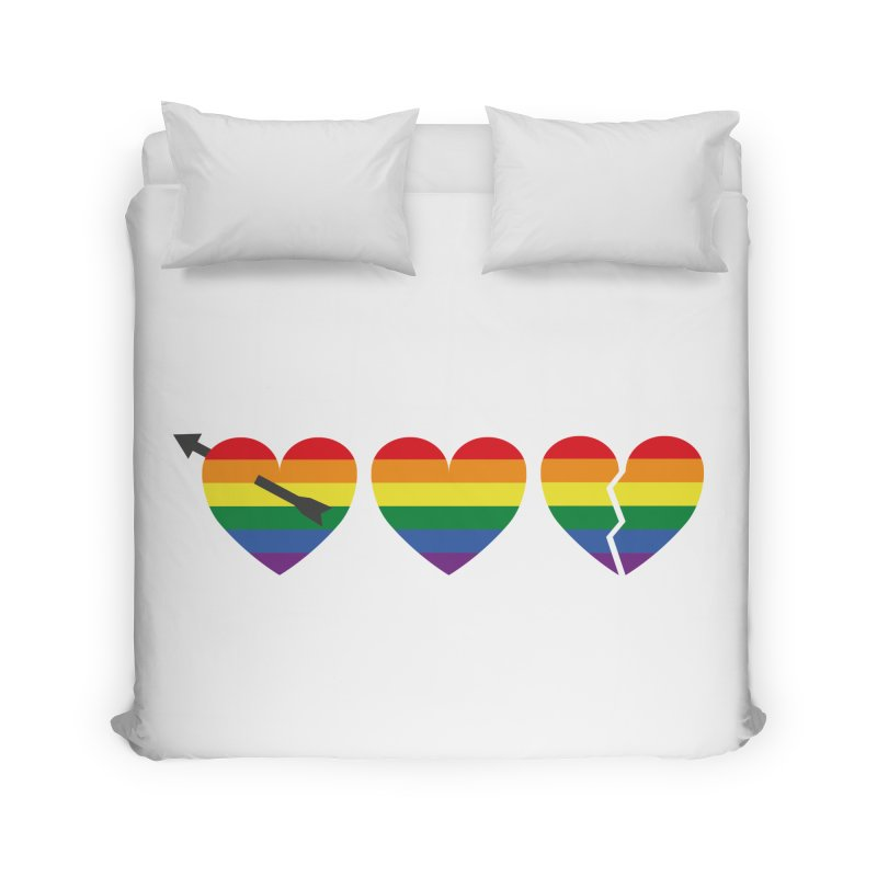 Hearts with gay flag (gay pride) Home Duvet by Beatrizxe