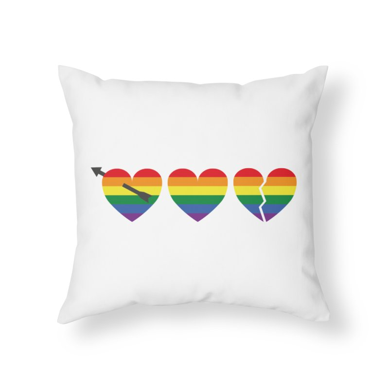 Hearts with gay flag (gay pride) Home Throw Pillow by Beatrizxe
