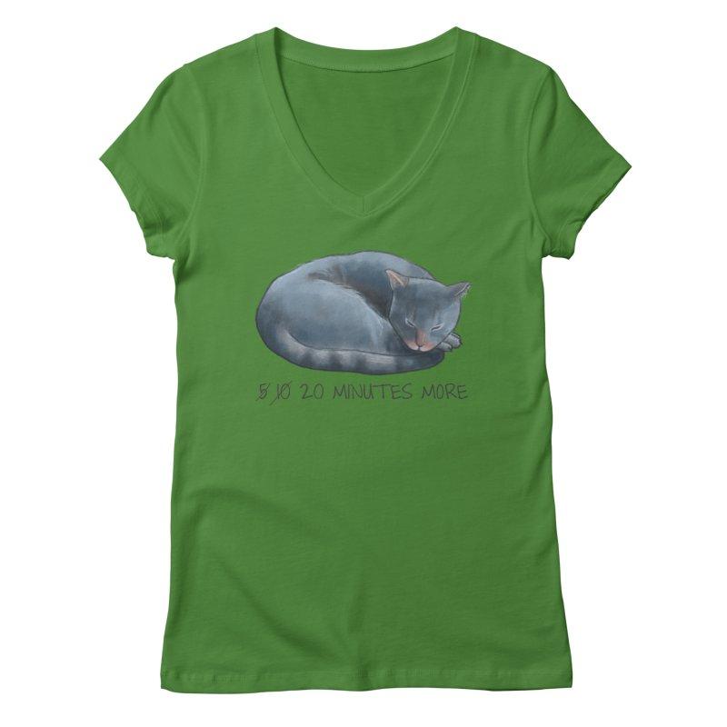 Sleepy Cat - 20 minutes more - Lazy Animals Women's V-Neck by Beatrizxe