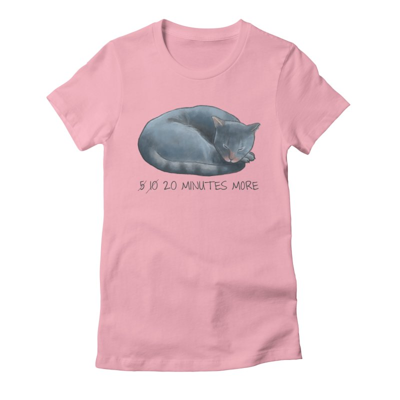 Sleepy Cat - 20 minutes more - Lazy Animals Women's Fitted T-Shirt by Beatrizxe