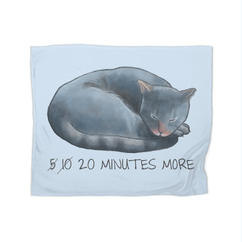 Sleepy Cat - 20 minutes more - Lazy Animals Home Fleece Blanket Blanket by Beatrizxe