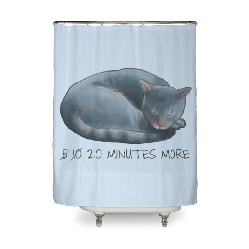 Sleepy Cat - 20 minutes more - Lazy Animals Home Shower Curtain by Beatrizxe