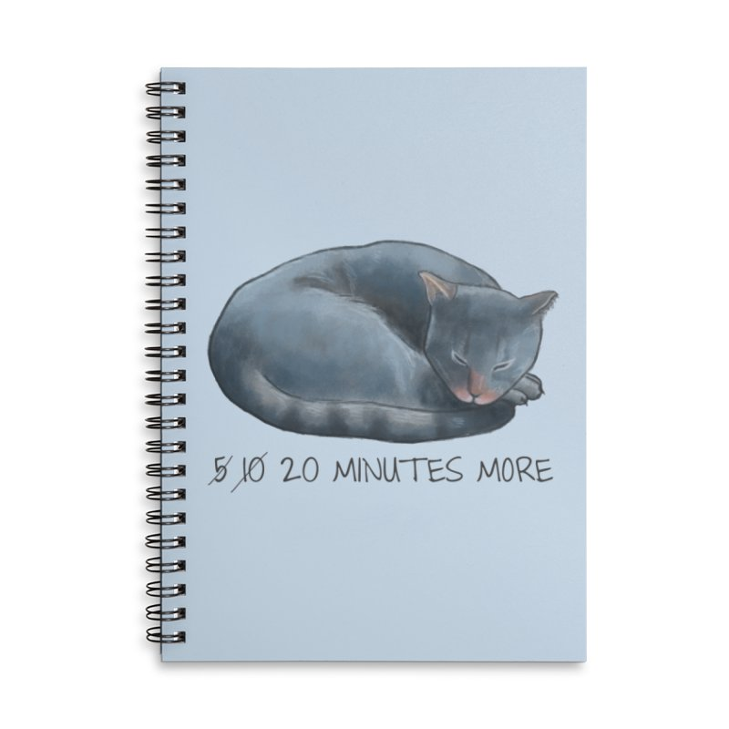 Sleepy Cat - 20 minutes more - Lazy Animals Accessories Lined Spiral Notebook by Beatrizxe