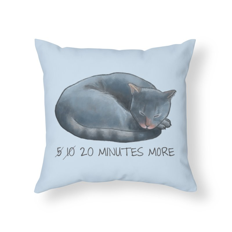 Sleepy Cat - 20 minutes more - Lazy Animals Home Throw Pillow by Beatrizxe