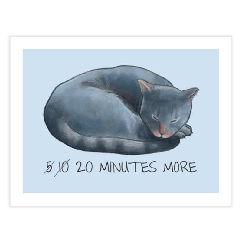 Sleepy Cat - 20 minutes more - Lazy Animals Home Fine Art Print by Beatrizxe