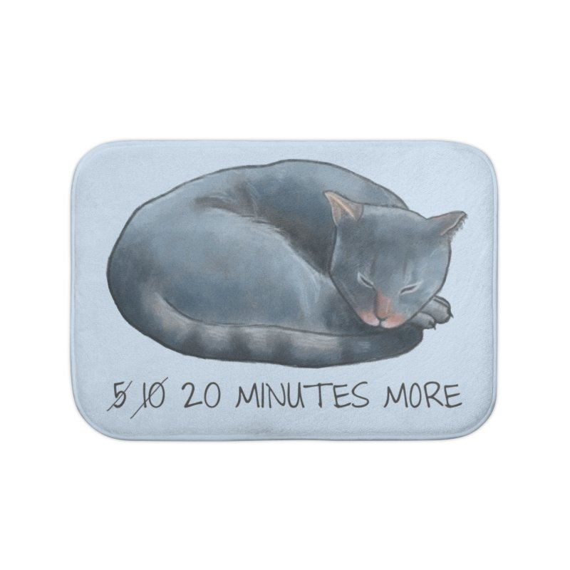Sleepy Cat - 20 minutes more - Lazy Animals Home Bath Mat by Beatrizxe