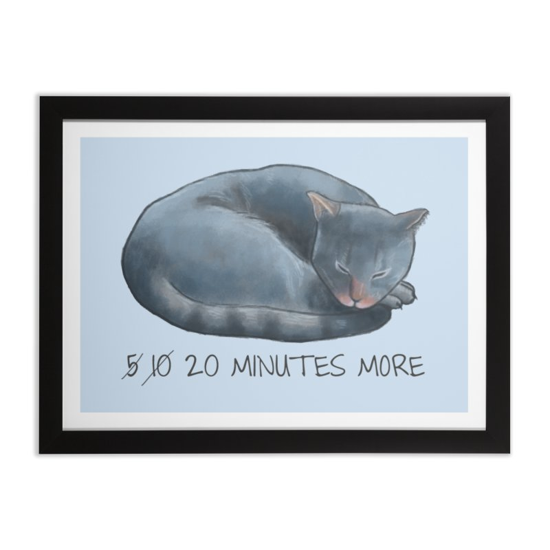 Sleepy Cat - 20 minutes more - Lazy Animals Home Framed Fine Art Print by Beatrizxe