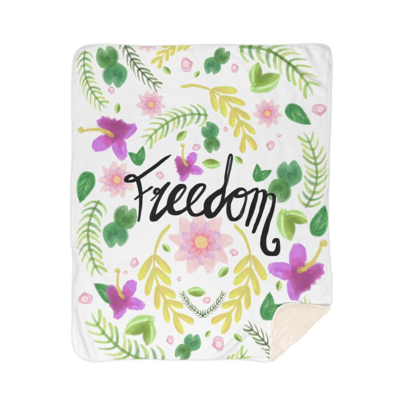 Freedom. Floral Pattern (flowers pattern) Home Sherpa Blanket Blanket by Beatrizxe