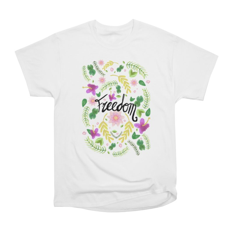 Freedom. Floral Pattern (flowers pattern) Women's Heavyweight Unisex T-Shirt by Beatrizxe
