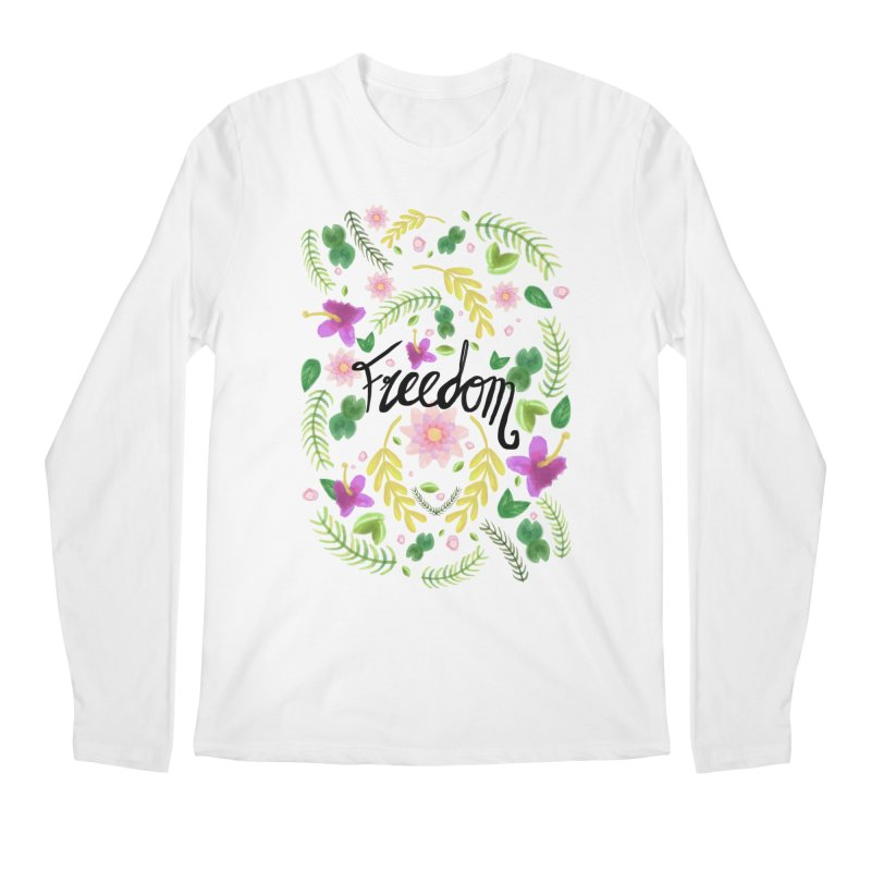 Freedom. Floral Pattern (flowers pattern) Men's Regular Longsleeve T-Shirt by Beatrizxe