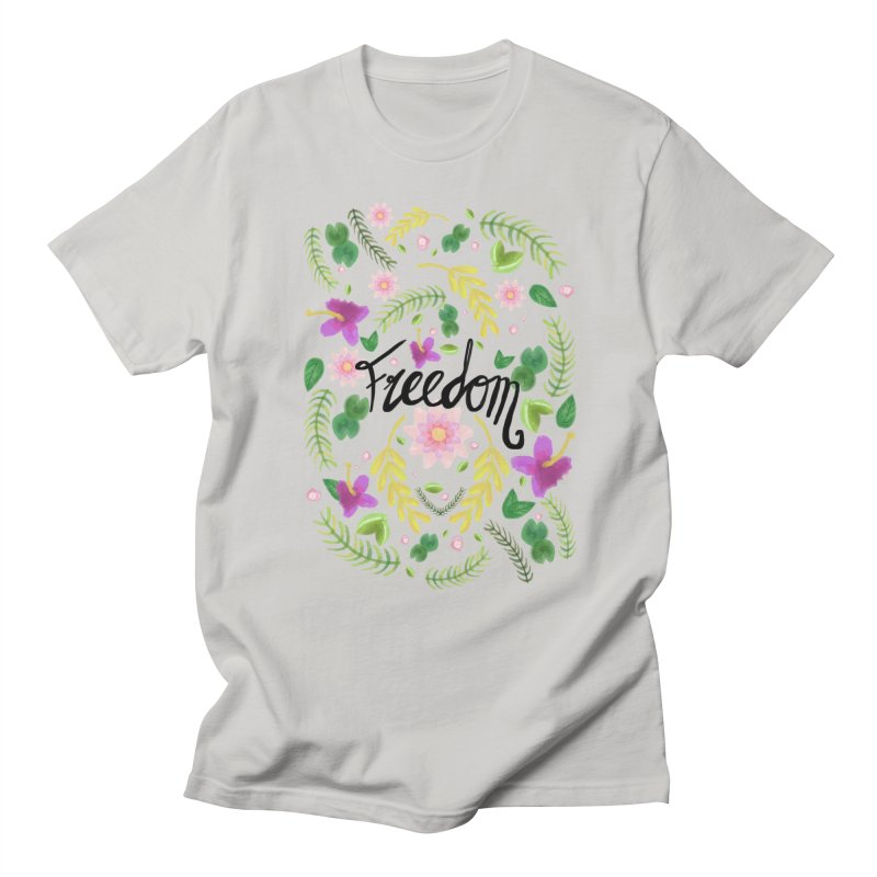 Freedom. Floral Pattern (flowers pattern) Men's Regular T-Shirt by Beatrizxe