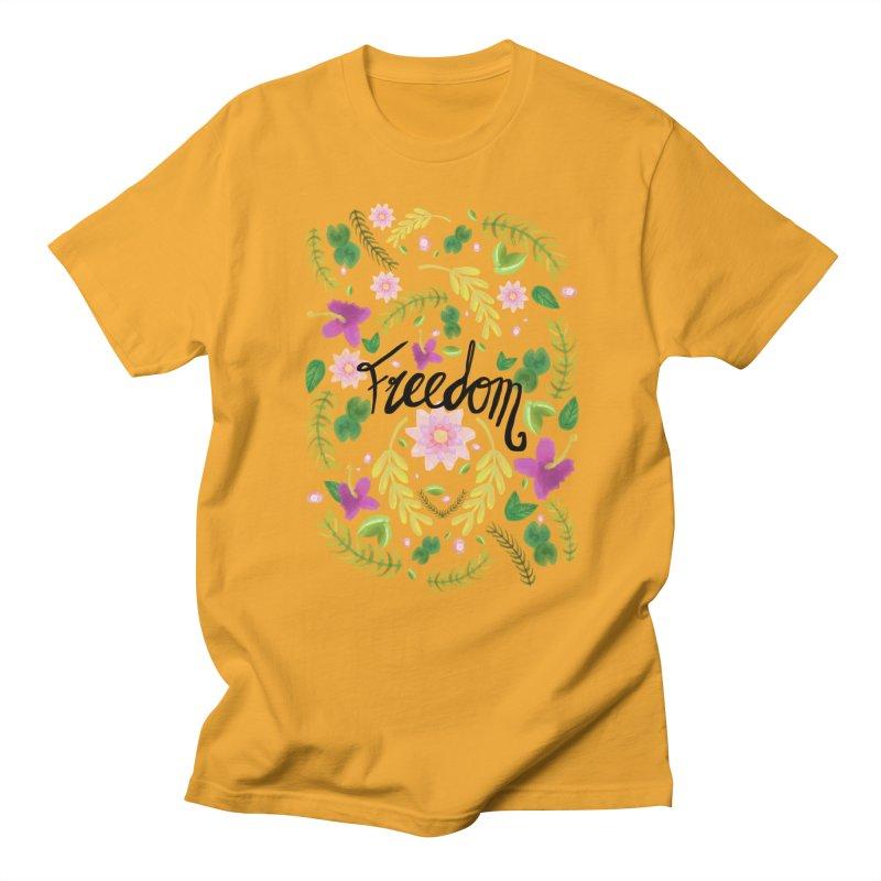 Freedom. Floral Pattern (flowers pattern) Men's Regular T-Shirt by Beatrizxe