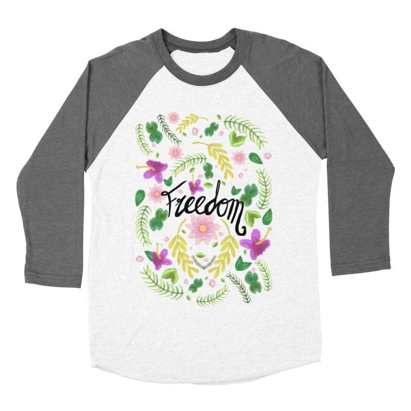 Freedom. Floral Pattern (flowers pattern) Women's Baseball Triblend Longsleeve T-Shirt by Beatrizxe