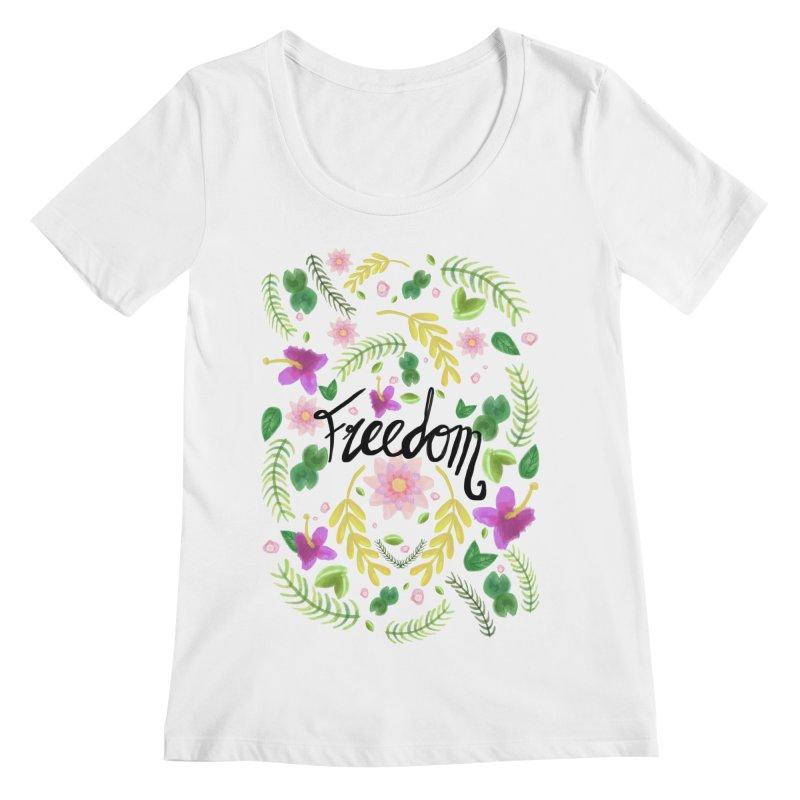 Freedom. Floral Pattern (flowers pattern) Women's Regular Scoop Neck by Beatrizxe
