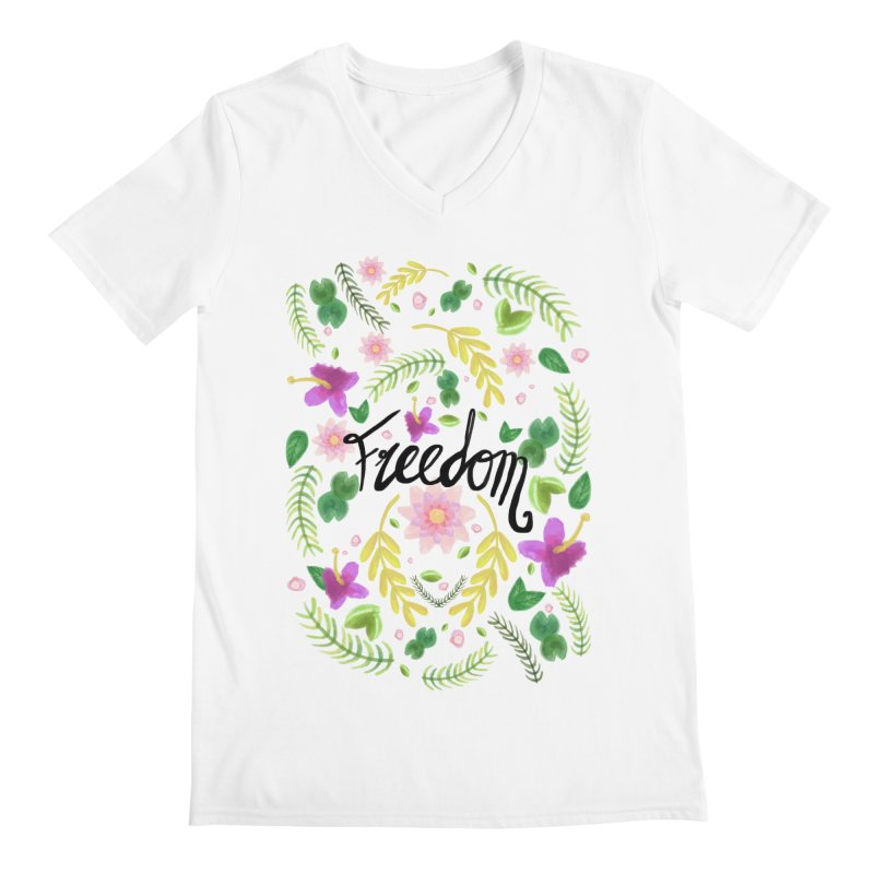 Freedom. Floral Pattern (flowers pattern) Men's Regular V-Neck by Beatrizxe