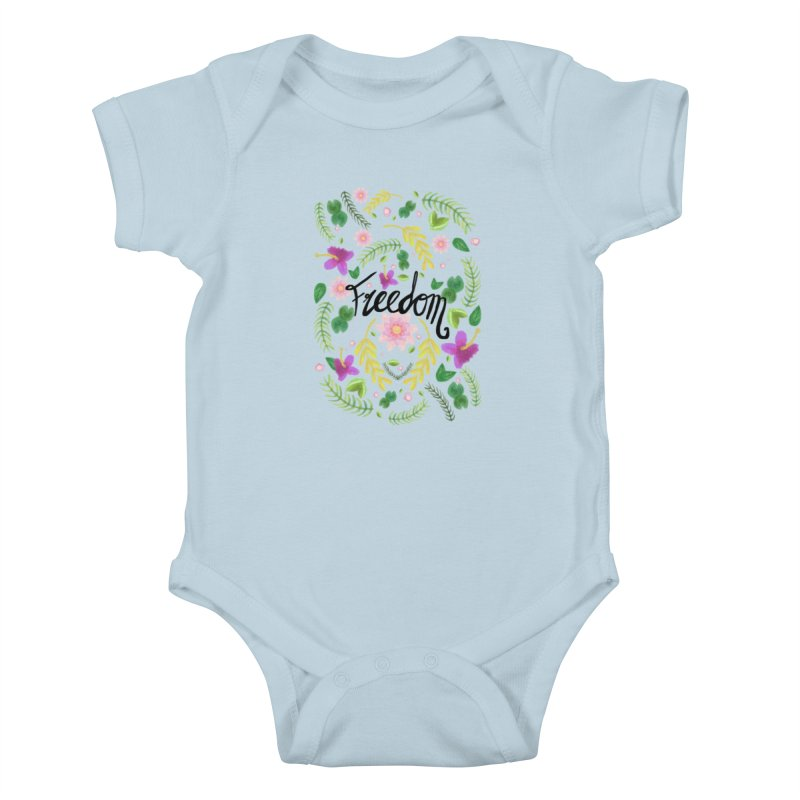 Freedom. Floral Pattern (flowers pattern) Kids Baby Bodysuit by Beatrizxe