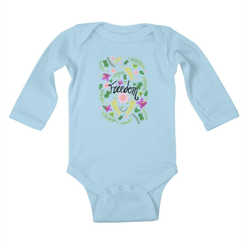 Freedom. Floral Pattern (flowers pattern) Kids Baby Longsleeve Bodysuit by Beatrizxe