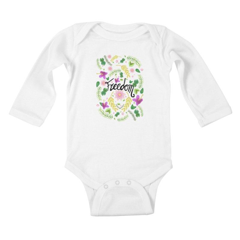 Freedom. Floral Pattern (flowers pattern) Kids Baby Longsleeve Bodysuit by Beatrizxe