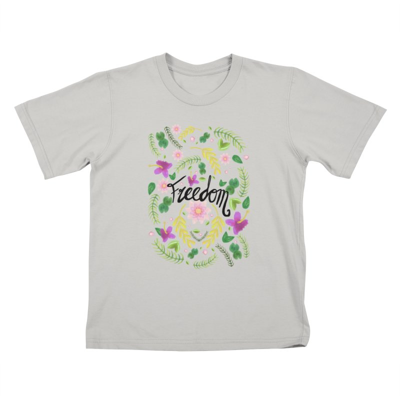 Freedom. Floral Pattern (flowers pattern) Kids T-shirt by Beatrizxe