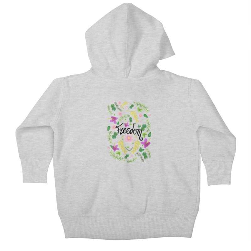 Freedom. Floral Pattern (flowers pattern) Kids Baby Zip-Up Hoody by Beatrizxe