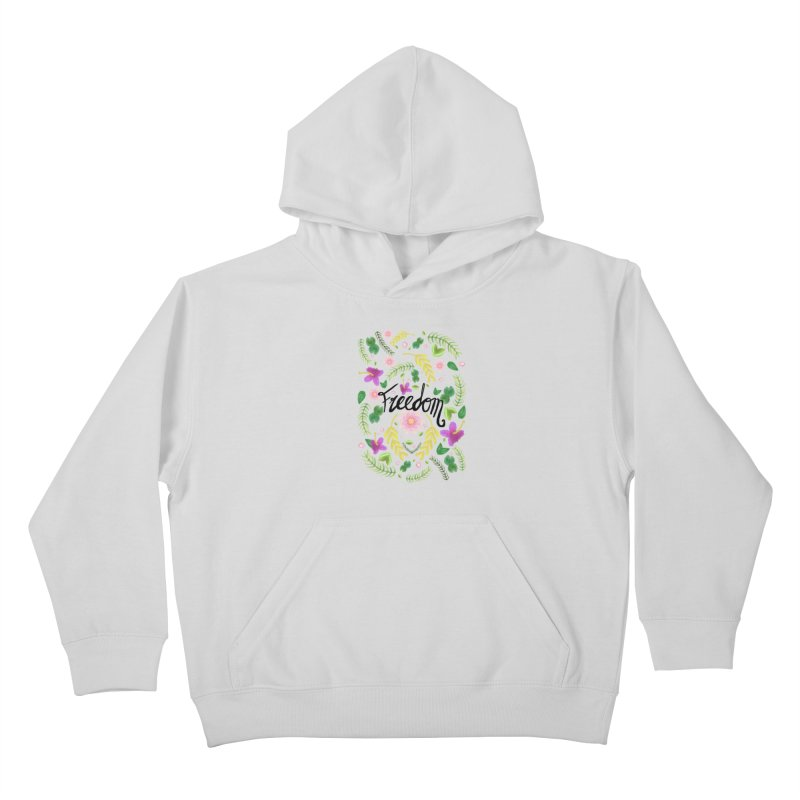 Freedom. Floral Pattern (flowers pattern) Kids Pullover Hoody by Beatrizxe