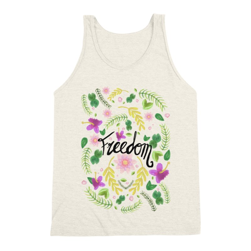 Freedom. Floral Pattern (flowers pattern) Men's Triblend Tank by Beatrizxe