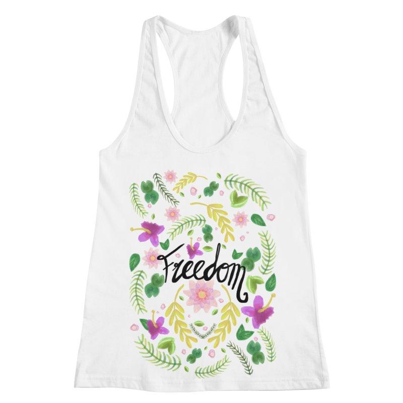 Freedom. Floral Pattern (flowers pattern) Women's Racerback Tank by Beatrizxe