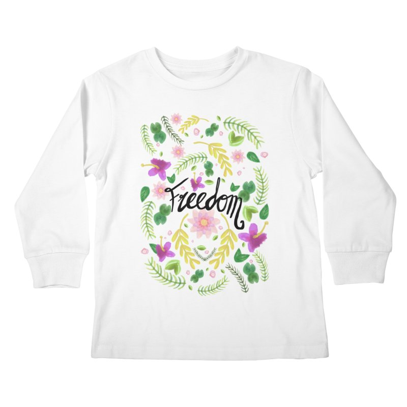 Freedom. Floral Pattern (flowers pattern) Kids Longsleeve T-Shirt by Beatrizxe