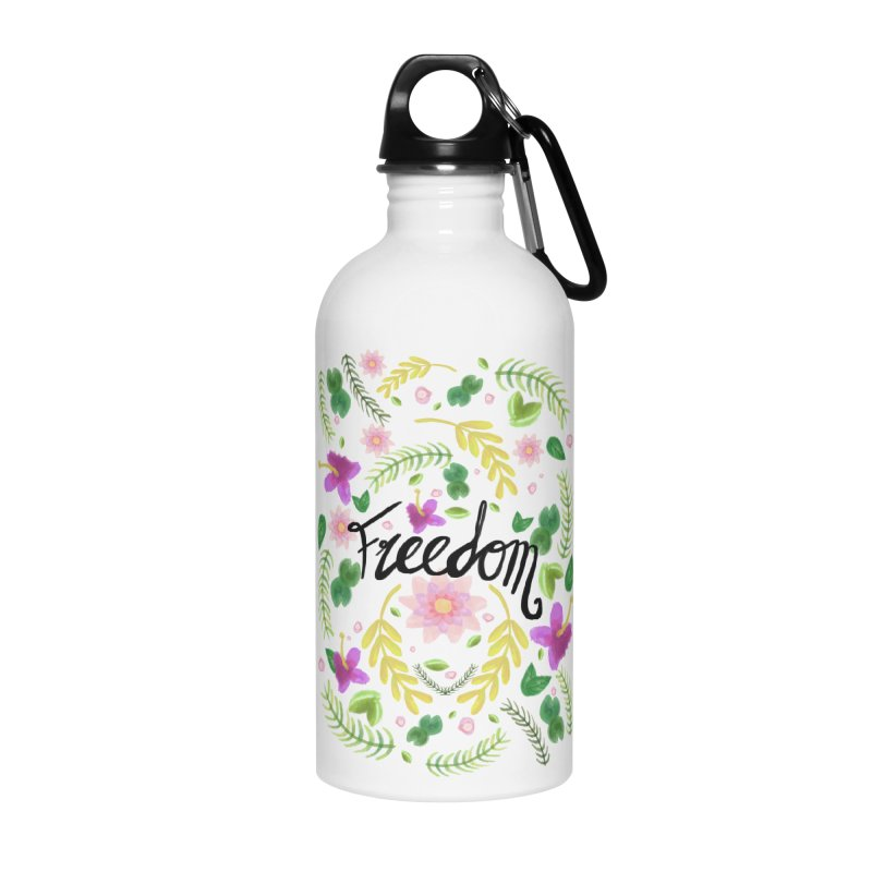 Freedom. Floral Pattern (flowers pattern) Accessories Water Bottle by Beatrizxe
