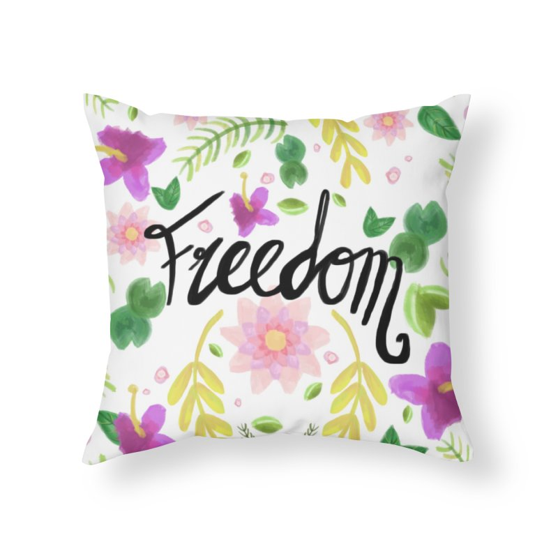 Freedom. Floral Pattern (flowers pattern) Home Throw Pillow by Beatrizxe