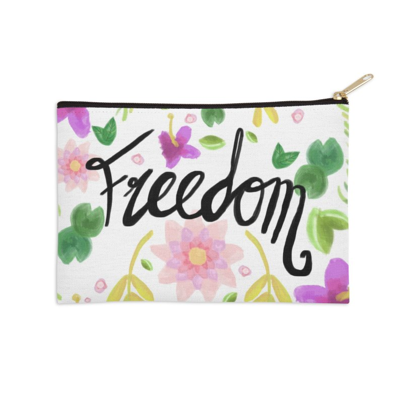Freedom. Floral Pattern (flowers pattern) Accessories Zip Pouch by Beatrizxe