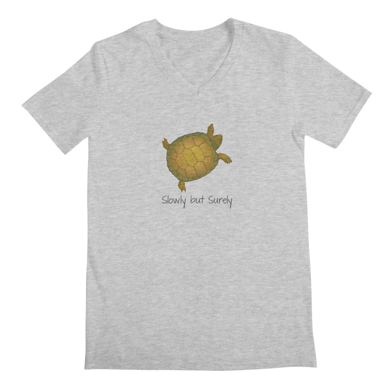 Turtle - Slowly but Surely - Lazy Animals Men's V-Neck by Beatrizxe