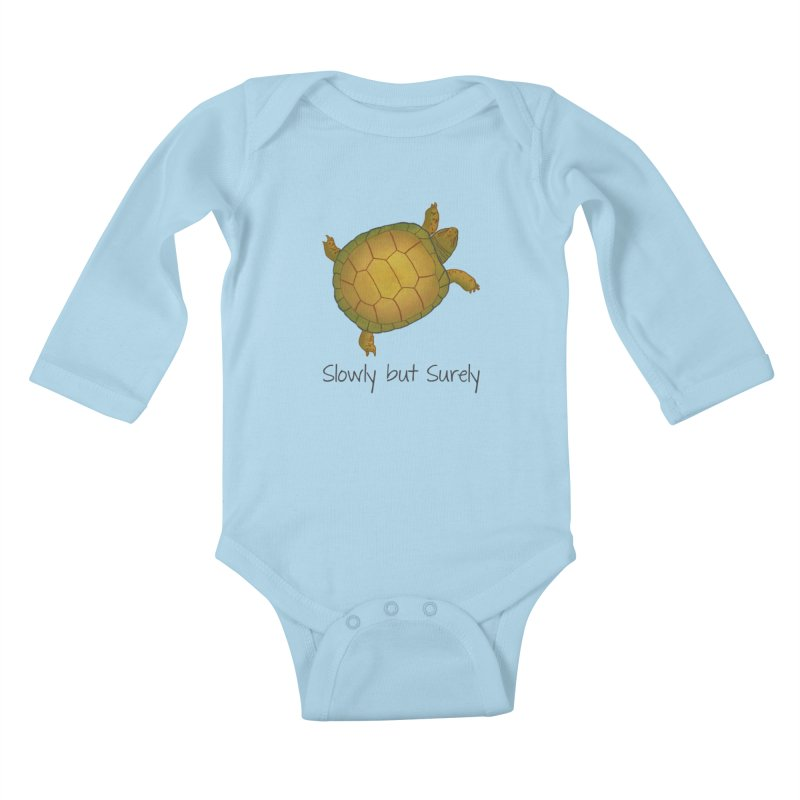 Turtle - Slowly but Surely - Lazy Animals Kids Baby Longsleeve Bodysuit by Beatrizxe