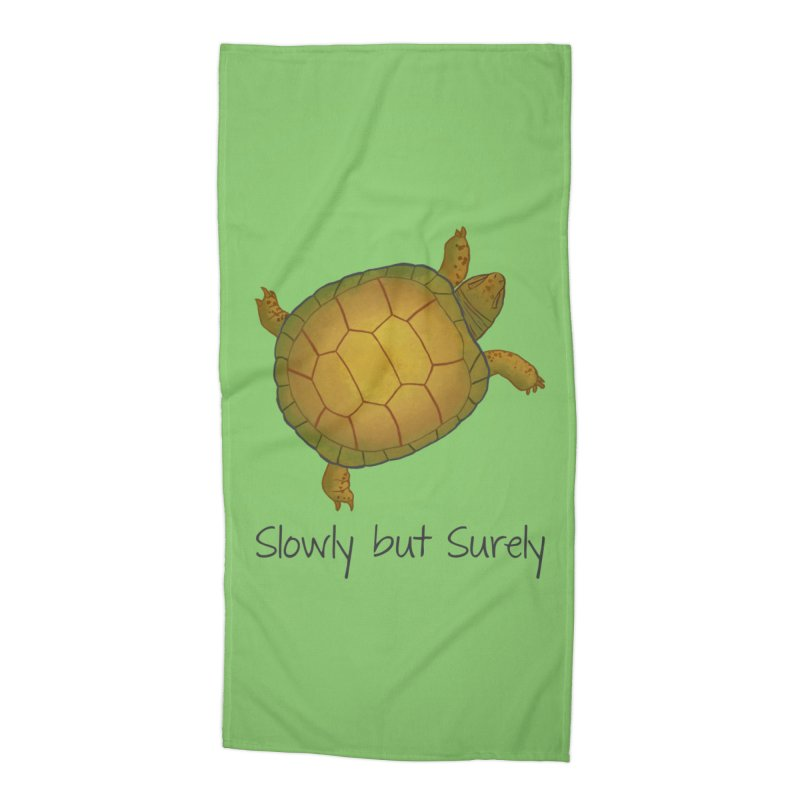 Turtle - Slowly but Surely - Lazy Animals Accessories Beach Towel by Beatrizxe
