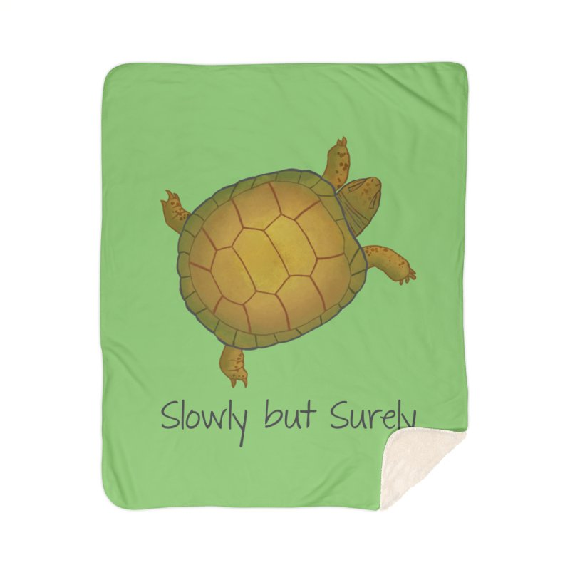 Turtle - Slowly but Surely - Lazy Animals Home Sherpa Blanket Blanket by Beatrizxe