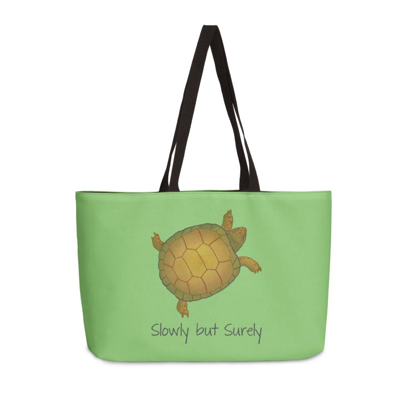 Turtle - Slowly but Surely - Lazy Animals Accessories Weekender Bag Bag by Beatrizxe