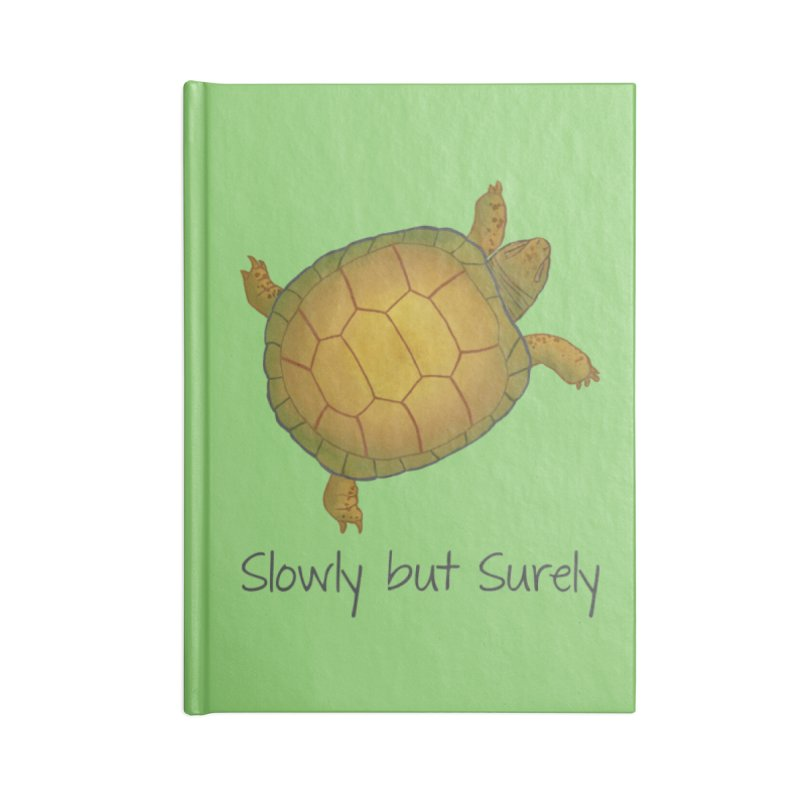 Turtle - Slowly but Surely - Lazy Animals Accessories Lined Journal Notebook by Beatrizxe